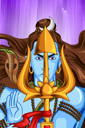 devotion: illustration of Lord Shiva, Indian God of Hindu Illustration