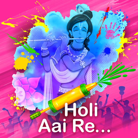 krishna: illustration of Lord Krishna playing flute with message Holi Aai Re meaning Holi has arrived Illustration