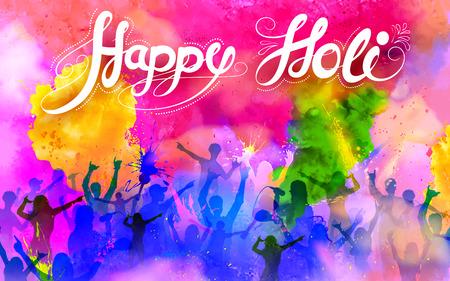 祝賀会: ホーリーの祭典のための DJ パーティー バナーのイラスト