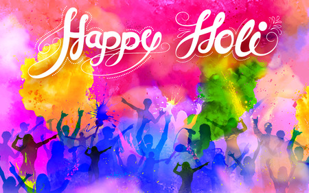 festival people: illustration of DJ party banner for Holi celebration Illustration