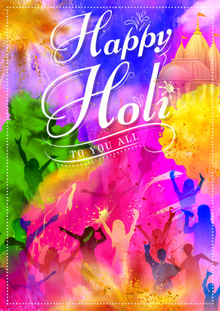 dj: illustration of DJ party banner for Holi celebration Illustration