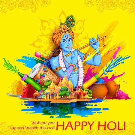 illustratie van de Heer Krishna spelen fluit in Happy Holi achtergrond