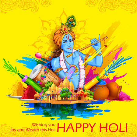 illustration of Lord Krishna playing flute in Happy Holi background Vettoriali