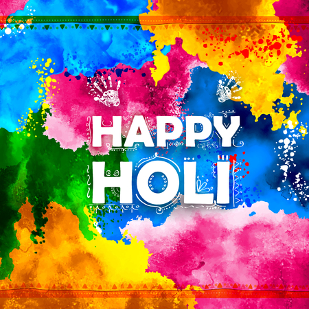 asian and indian ethnicities: illustration of abstract colorful Happy Holi background Illustration