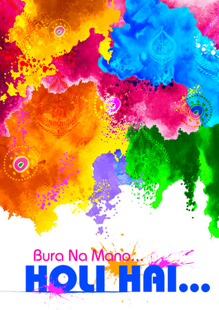 decorative wallpaper: illustration of abstract colorful background with messgae Bura na Mano Holi Hain meaning Donot get offended as it is Holi Illustration