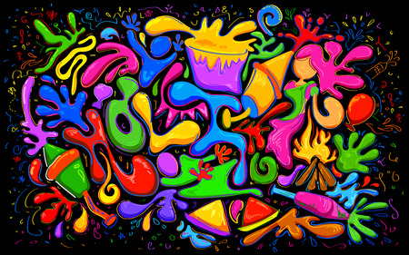 pichkari: illustration of abstract colorful Happy Holi doodle background