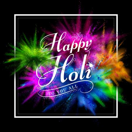 Ilustración de gulal colorido (color en polvo) explosión de fondo Happy Holi Foto de archivo - 53412183