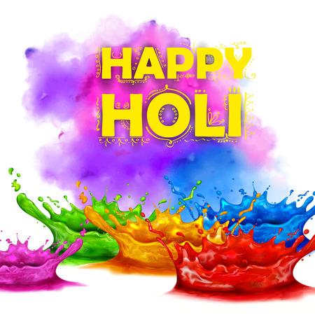 happy holi: illustration of colorful splash in Happy Holi background Illustration