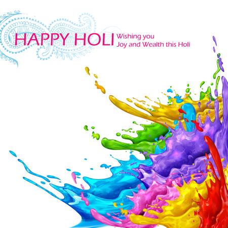 illustration of colorful splash in Happy Holi background Illustration