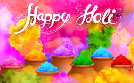 glücklich: Illustration der bunten Gulaal (Pulverfarbe) für Happy Holi