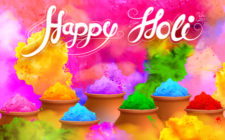india culture: illustration of colorful gulaal (powder color) for Happy Holi