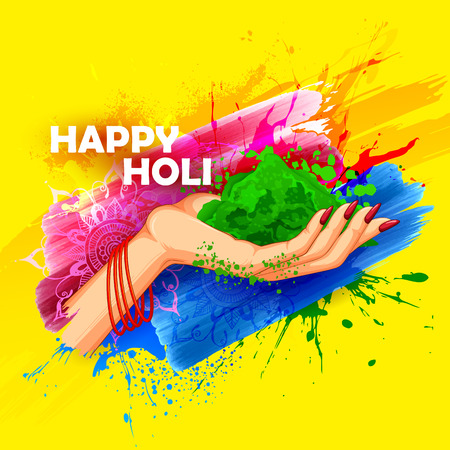 happy holi: illustration of hand holding colorful gulaal (powder color) for Happy Holi