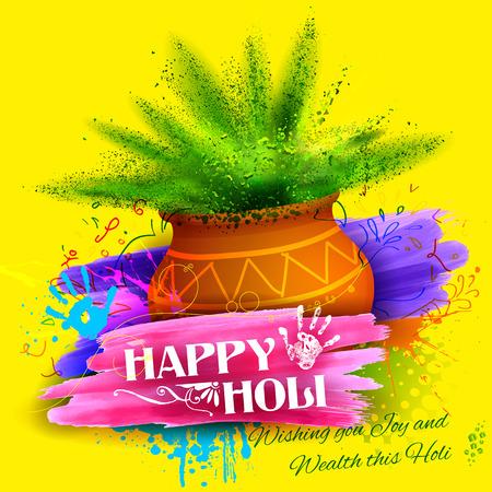 illustratie van kleurrijke Gulaal (poeder kleur) voor Happy Holi