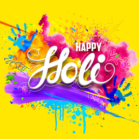 illustration of abstract colorful Happy Holi background Ilustração