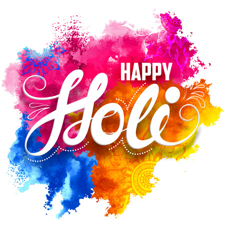 illustration of abstract colorful Happy Holi background Ilustracja