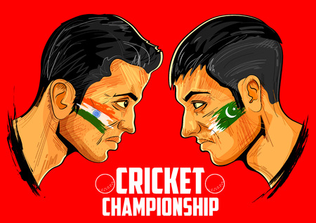 batsman: illustration of cricket players of different participating countries of cricket championship Illustration