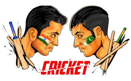 streichholz: Illustration der Cricket-Spieler von verschiedenen Teilnehmerländern zeigt Rache Illustration