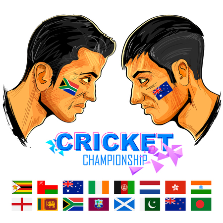 cricketer: illustration of cricket player of different participating countries showing revenge