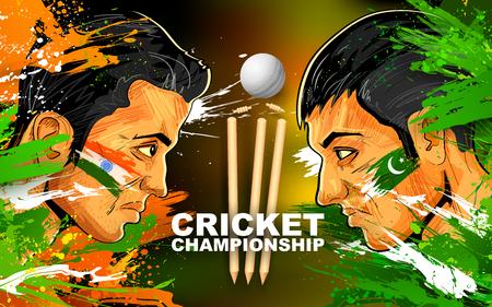 Illustratie van cricket speler van de verschillende deelnemende landen tonen wraak Stockfoto - 55668124