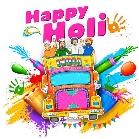punjabi: illustration of people of different religions of India celebrating Happy Holi Illustration