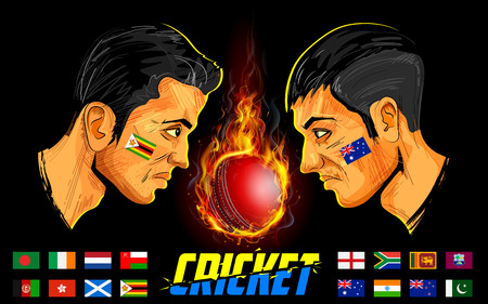 cricket sport: illustration of cricket players of different participating countries of cricket championship Illustration
