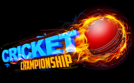 championship: illustration of fiery cricket ball for Cricket Championship