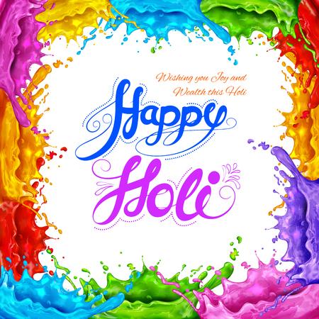 rang: illustration of colorful splash in Happy Holi background Illustration