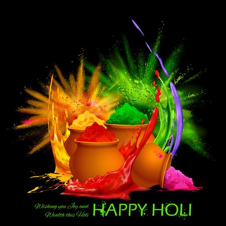 dhulandi: illustration of colorful gulaal (powder color) for Happy Holi