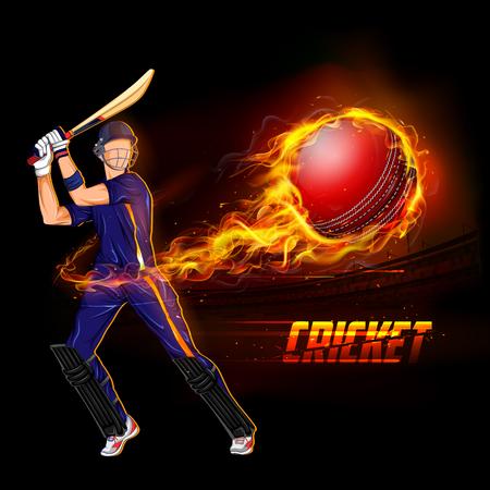 illustration du championnat de cricket batteur jouant avec le ballon de feu Vecteurs