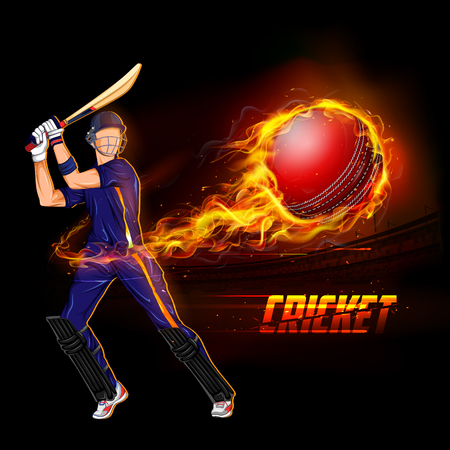illustration of batsman playing cricket championship with fiery ball Illustration