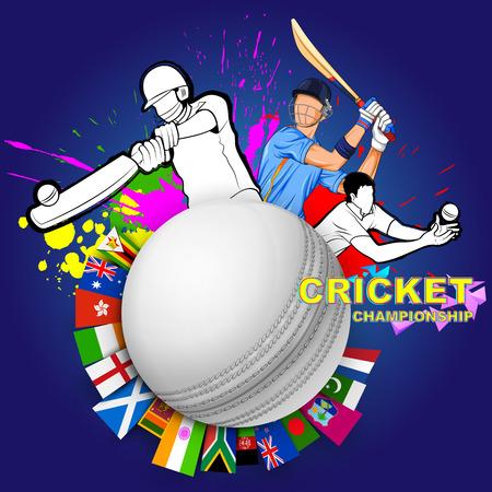 cricketer: illustration of batsman playing cricket championship Illustration
