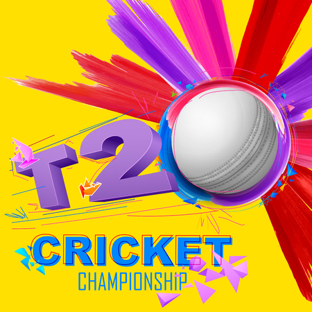 sporting event: illustration of cricket ball for T20 Cricket Championship
