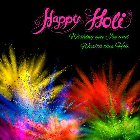 illustration de gulal coloré (couleur de poudre) d'explosion pour Happy Holi Contexte Vecteurs
