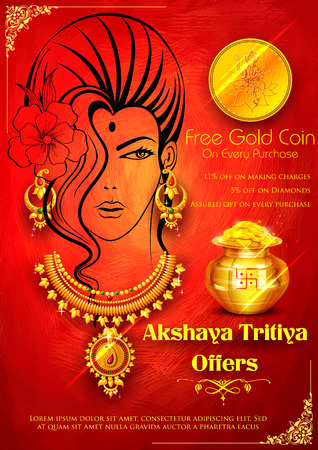 kalasha: illustration of Akshaya Tritiya celebration jewellery Sale promotion Illustration
