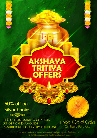 illustration of Akshaya Tritiya celebration jewellery Sale promotion Illustration
