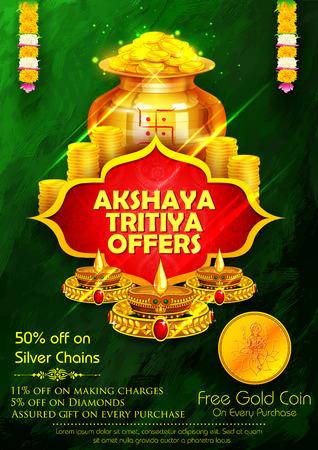 illustration of Akshaya Tritiya celebration jewellery Sale promotion Illustration