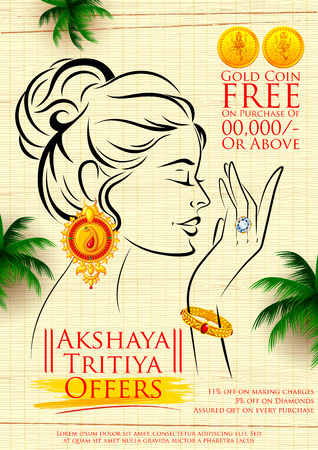 pooja: illustration of Akshaya Tritiya celebration jewellery Sale promotion Illustration