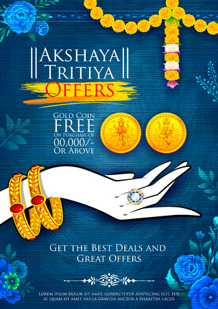 dipawali: illustration of Akshaya Tritiya celebration jewellery Sale promotion Illustration
