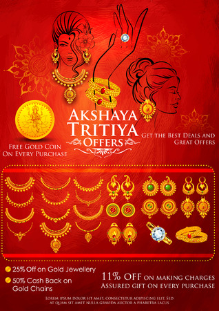 ghatashtapana: illustration of Akshaya Tritiya celebration jewellery Sale promotion Illustration