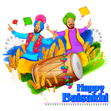 punjab: illustration of Punjabi New Year Happy Baisakhi background