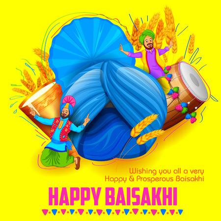 illustratie van Punjabi Nieuwjaar Happy Baisakhi achtergrond