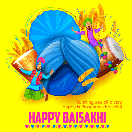 illustration of Punjabi New Year Happy Baisakhi background