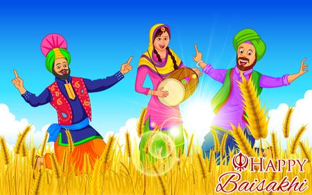 punjabi: illustration of Punjabi New Year Happy Baisakhi background