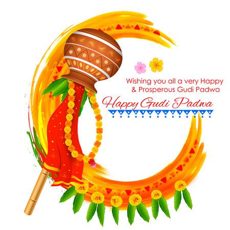 marathi: illustration of Gudi Padwa ( Lunar New Year ) celebration of India Illustration