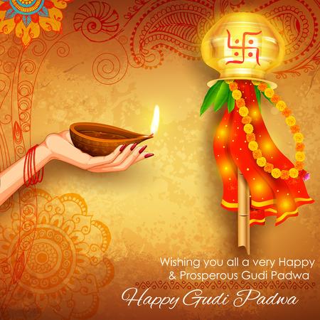 illustration of Gudi Padwa ( Lunar New Year ) celebration of India with message in Marathi Gudi Padwachi Hardik Shubhechha meaning Heartiest Greetings of Gudi Padwa