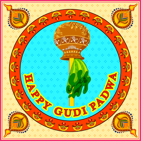 navratri: illustration of Gudi Padwa ( Lunar New Year ) celebration of India Illustration