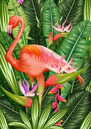 rain forest animal: illustration of exotic tropical background with palm leaves and flamingo