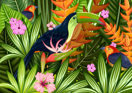 illustration of exotic tropical background with colorful toucan 向量圖像