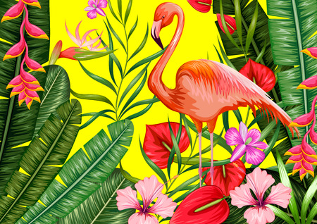 heliconia: illustration of exotic tropical background with flamingo and flower
