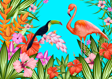 illustrazione di sfondo tropicale esotica con tucano e fenicottero